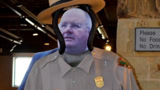 The cut out of Mr Pickles is sized up for a park ranger uniform in San Antonio Texas
