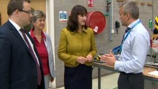 Rachel Reeves (second from right) during a visit to Wales