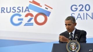 US President Barack Obama speaking at the G20 summit