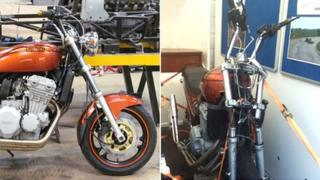 Before and after picture of Chris Dicker's Triumph motorcycle