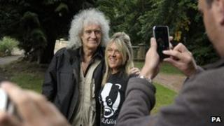 Queen guitarist Brian May poses for a picture in Newent, Gloucestershire