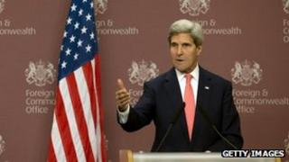 US Secretary of State John Kerry speaks during a press conference with Britain's Foreign Secretary William Hague, (not pictured) at the the Foreign and Commonwealth Office on 9 September 2013