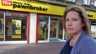 Caroline Walton outside a branch of the Money Shop