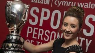 Jade Jones celebrates winning BBC Cymru Wales Sports Personality of the Year 2012