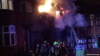 Fire in Leicester