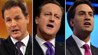Nick Clegg, David Cameron, Ed Miliband