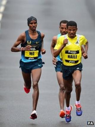 Mo Farah in the Great North Run