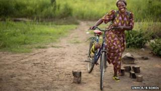 Sister Angelique Namaika is a familiar sight on her bicycle, which she uses to visit the girls she helps in Dungu and nearby villages