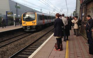 Commuters on the platform