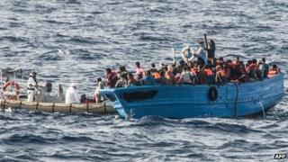 Illegal migrants near the Italian island of Lampedusa. July 2013