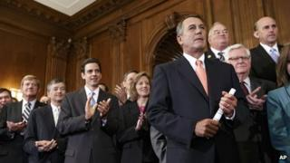Speaker of the House John Boehner and other House Republican members hold a rally at the US Capitol on 20 September 2013