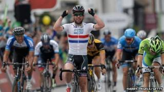 Mark Cavendish winning stage seven of the Tour of Britain