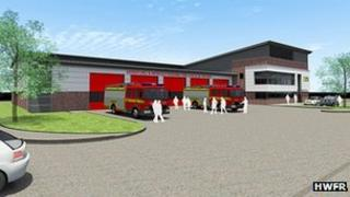 Artist's impression of the new Worcester fire station