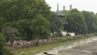 The long queue for entry to Battersea Power Station in London on Sunday