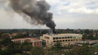 Smoke rises from the Westgate shopping centre in Nairobi.