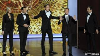 Jane Lynch, Jimmy Kimmel, Conan O'Brien, Jimmy Fallon and host Neil Patrick Harris onstage during the 65th Annual Primetime Emmy Awards