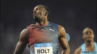 Usain Bolt during the men's 100m race at the Diamond League athletics meeting in Brussels this month