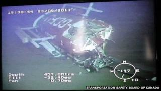 An image published by TSB of the crashed helicopter