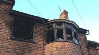The fire-hit house in Leicester