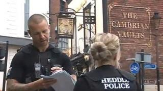 Police outside Cambrian Vaults