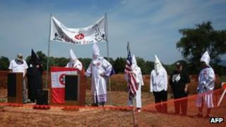 Members of the Confederate White Knights hold a rally at the Antietam National Battlefield 7 September 2013