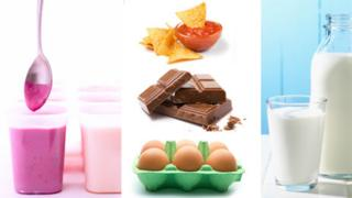 Clockwise from left: Yogurt, tortilla chips, milk, eggs and chocolate,