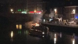 The scene of the fire on the River Ouse in York