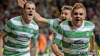 Celtic celebrate scoring against Shakhter Karagandy
