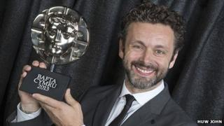 Michael Sheen with his Bafta Cymru award