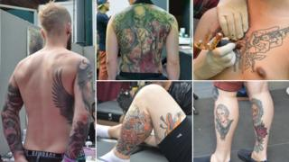 Composite picture of multiple tattooees