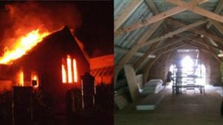 The hall during the fire (L) and during re-construction (R)