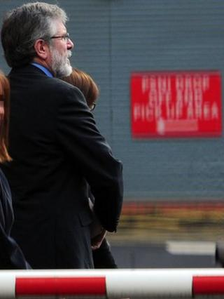 Gerry Adams arriving to give evidence at his brother's first trial.