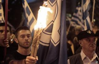 Golden Dawn supporters at a rally in Athens, 29 May 2013