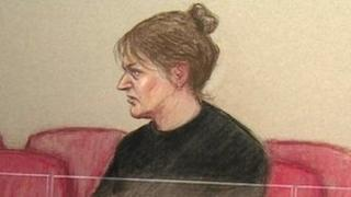 court sketch of Amanda Hutton