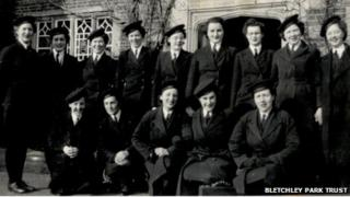 Bletchley Park Bombe operators at their accommodation at Crawley Grange. Mrs Ann Parker, nee White (back row, centre)