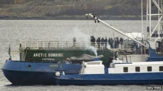 The Arctic Sunrise vessel anchored outside the Arctic port city of Murmansk