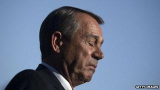 House Speaker John Boehner pauses while addressing the media on the government shutdown.