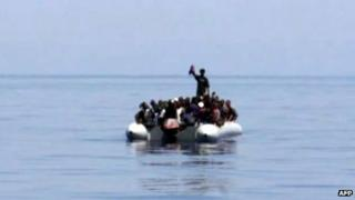 Migrant boat off Lampedusa, 8 August 2013