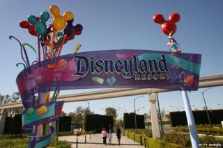 Disneyland resort sign, Anaheim, California