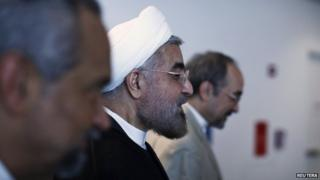 Iranian President Hassan Rouhani (centre) at the UN in New York, 26 September