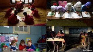 Children at different schools.