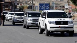 Cars with the team from the Organization for the Prohibition of Chemical Weapons in Syria.