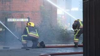 Fire crews at Derby fire scene