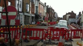 Roadworks in Hemel Hempstead Old Town