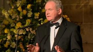 Martin McGuiness was speaking at a reception at Hillsborough Castle in County Down