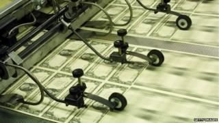 US dollar notes being printed