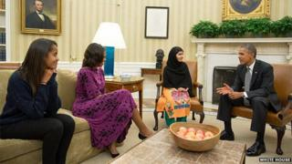 Malia Obama, Michelle Obama, Malala Yousafzai and Barack Obama