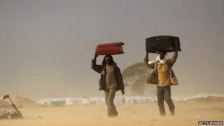 Africa men walking