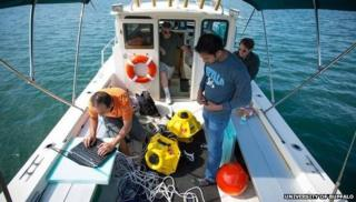 University of Buffalo underwater wi-fi testing team