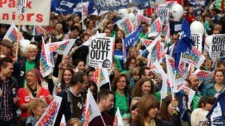 Teachers marching in Bristol